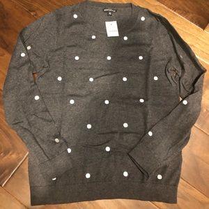 Jcrew grey sweater wi silver dots size M NWT